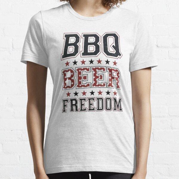 bbq cerveza libertad, bbq, libertad, bbq beer freedom guy, bbq beer freedom walmart, Camiseta esencial