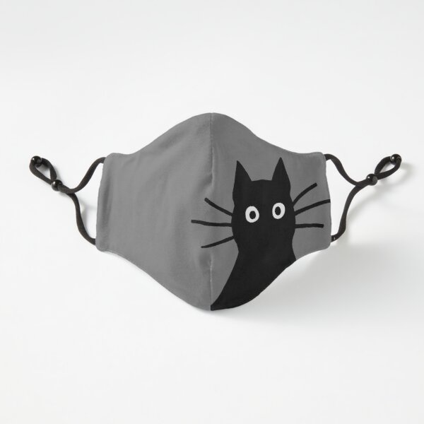 Black Cat Face Fitted 3-Layer