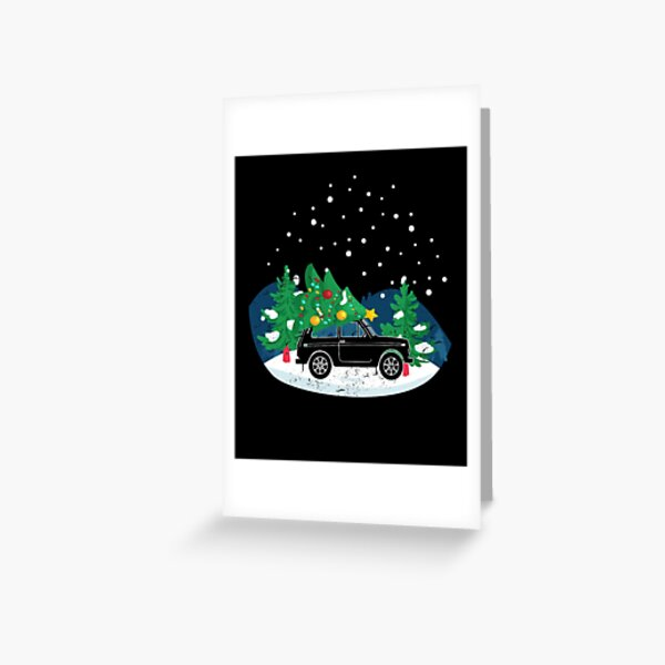 Lada Niva With Christmas Tree Russia 4x4 Vehicle Greeting Card