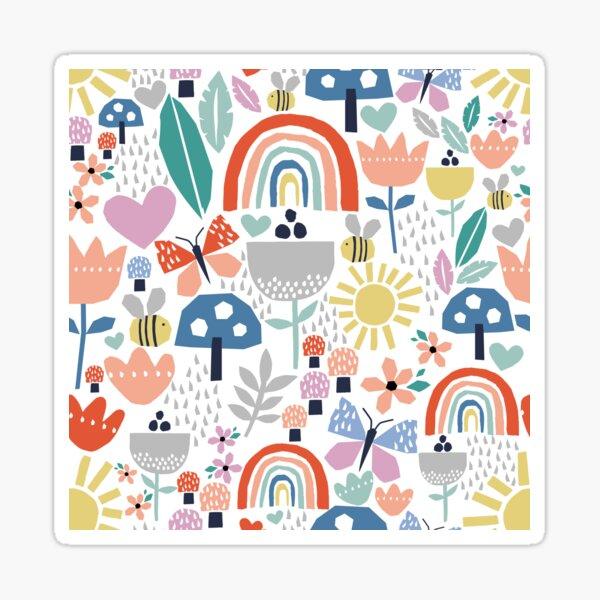 Colourful paper cut kids nature pattern Sticker