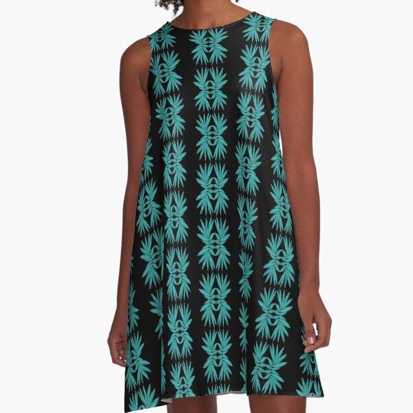 Tropical Leaf Pattern  A-Line Dress