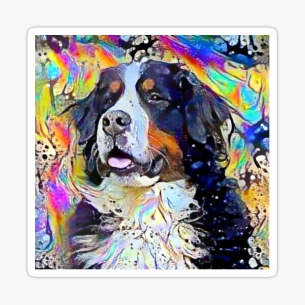 Psychedelic Bernese Mountain Dog Puppy Smiling Sticker
