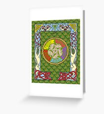 Dogs and Rabbits Celtic Quilt Design Greeting Card