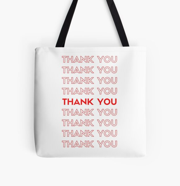 Repeating thank you logo red All Over Print Tote Bag