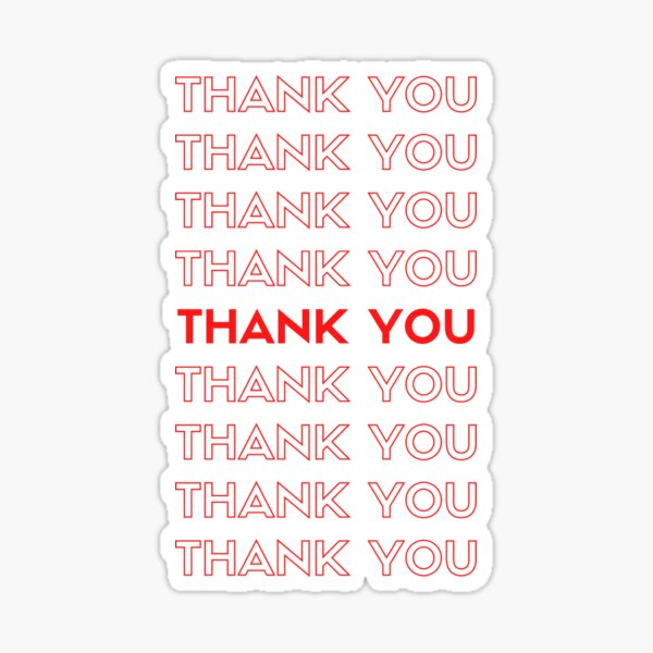 Repeating thank you logo red Sticker