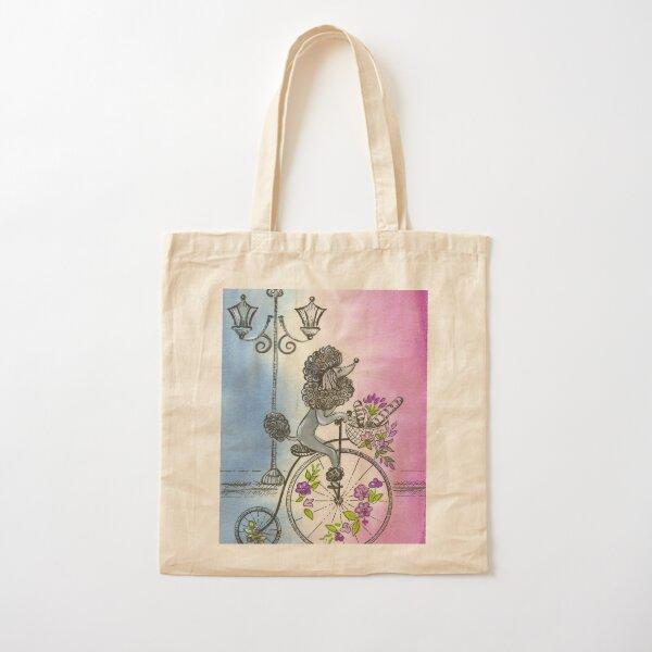 Fancy Poodle in Paris Cotton Tote Bag