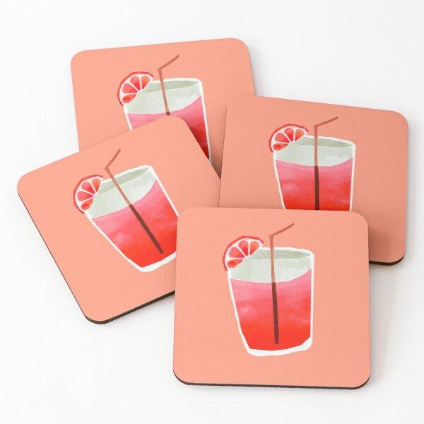 Pink Grapefruit Drink Coasters (Set of 4)