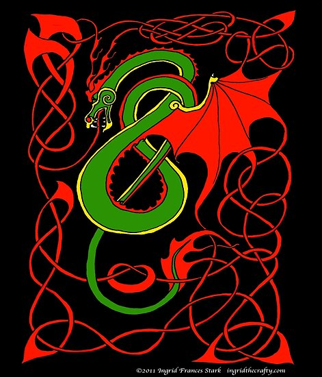 Red and Green Celtic Dragon by ingridthecrafty