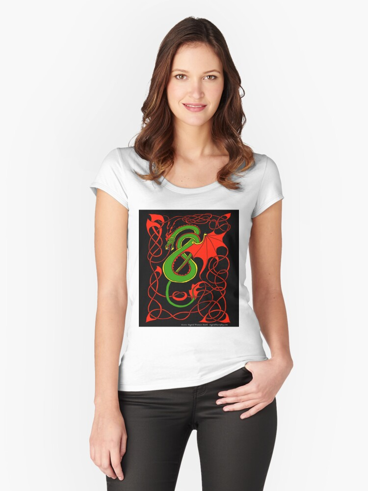 Red and Green Celtic Dragon Women's Fitted Scoop T-Shirt Front
