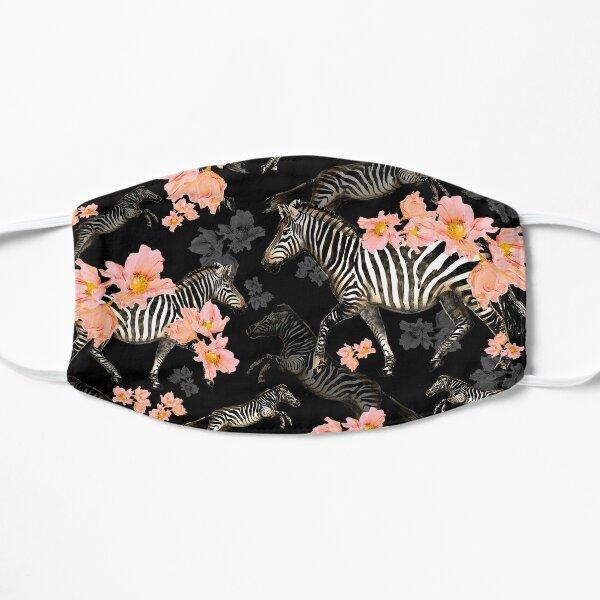 Zebras und Korallenmohnblumen - schwarzer Hintergrund Flache Maske