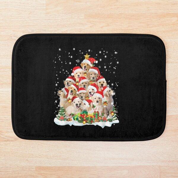 Golden-Retriever-Christmas-Tree-Santa-Hat-Pajama-Dog-Lover Bath Mat