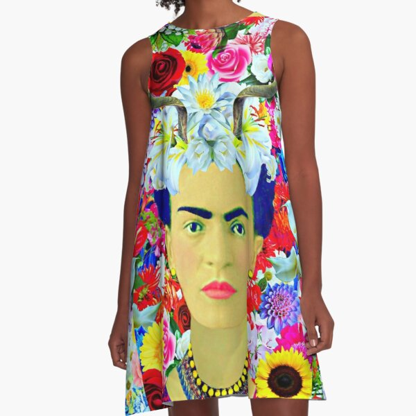 Frida Kahlo Horns Colorful Floral Vestido acampanado