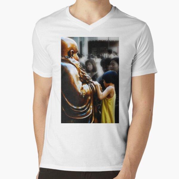 Touching Buddha V-Neck T-Shirt