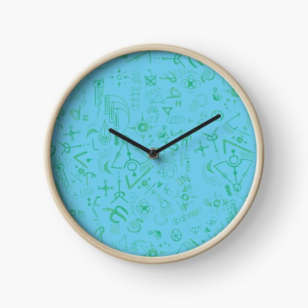 Symbols and Patterns in Blue Tints Clock