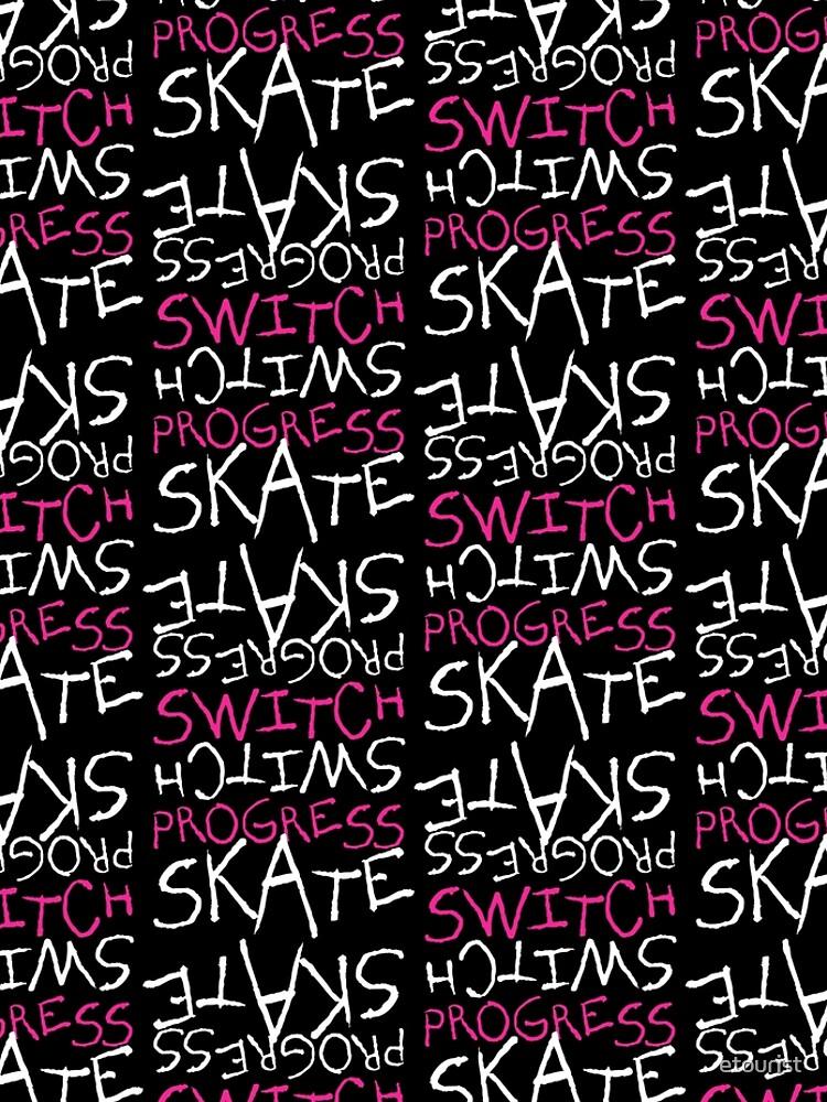 Skeleton Skateboard Design Switch Progress Skate Inspirational Art (Pink) by etourist