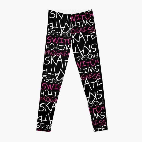 Skeleton Skateboard Design Switch Progress Skate Inspirational Art (Pink) Leggings