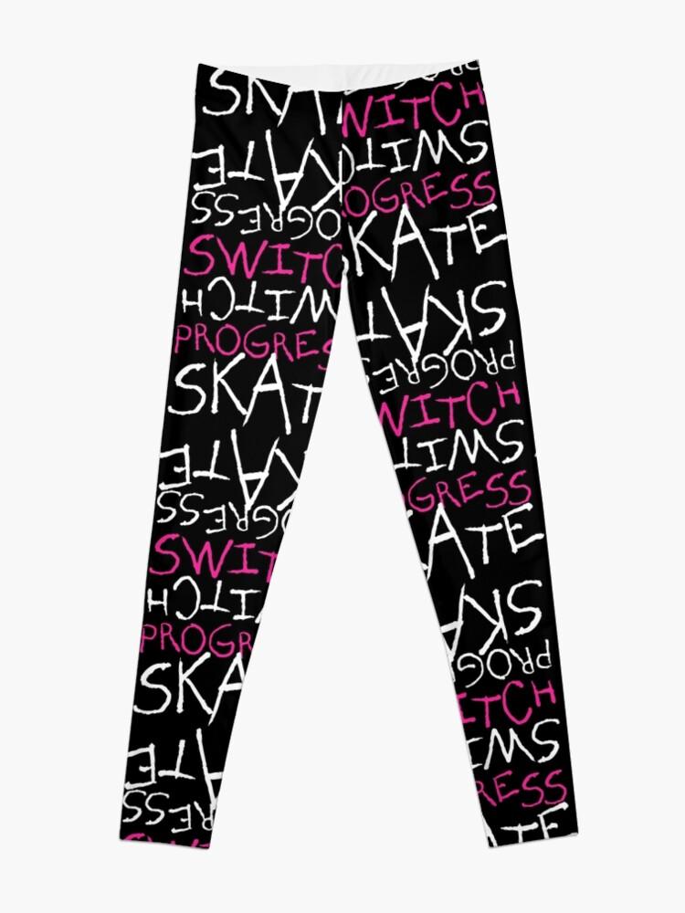 Alternate view of Skeleton Skateboard Design Switch Progress Skate Inspirational Art (Pink) Leggings