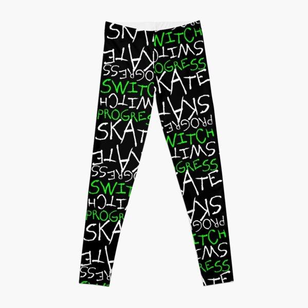 Skeleton Skateboard Design Switch Progress Skate Inspirational Art (Green) Leggings