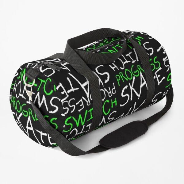Skeleton Skateboard Design Switch Progress Skate Inspirational Art (Green) Duffle Bag