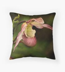 Pink lady's slipper orchid Throw Pillow