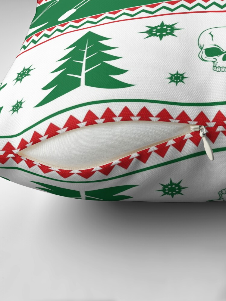 Alternate view of Ugly Horror Christmas Sweater Throw Pillow