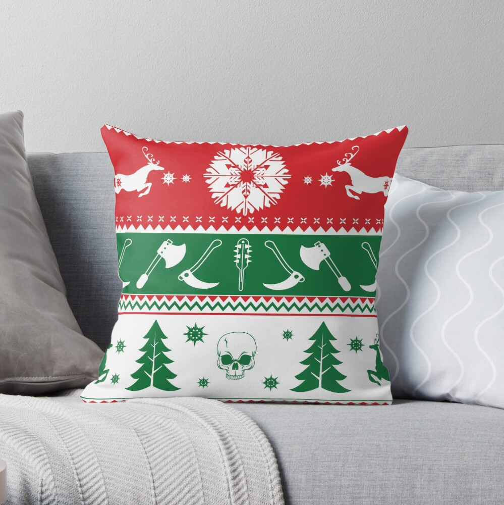 Ugly Horror Christmas Sweater Throw Pillow