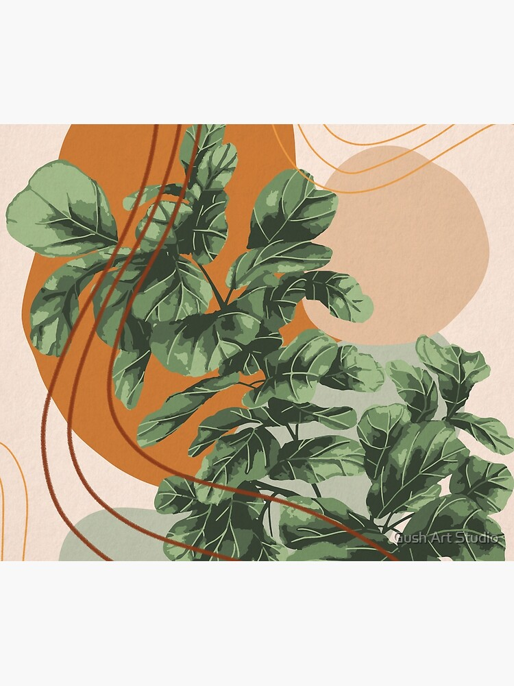 Mid Century Modern, Abstract Plant Illustration, Fiddle Leaf Fig Art by gusstvaraonica
