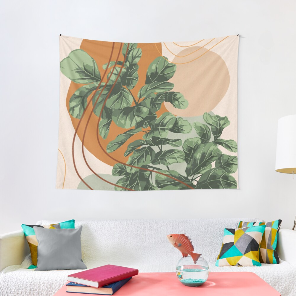 Mid Century Modern, Abstract Plant Illustration, Fiddle Leaf Fig Art Tapestry