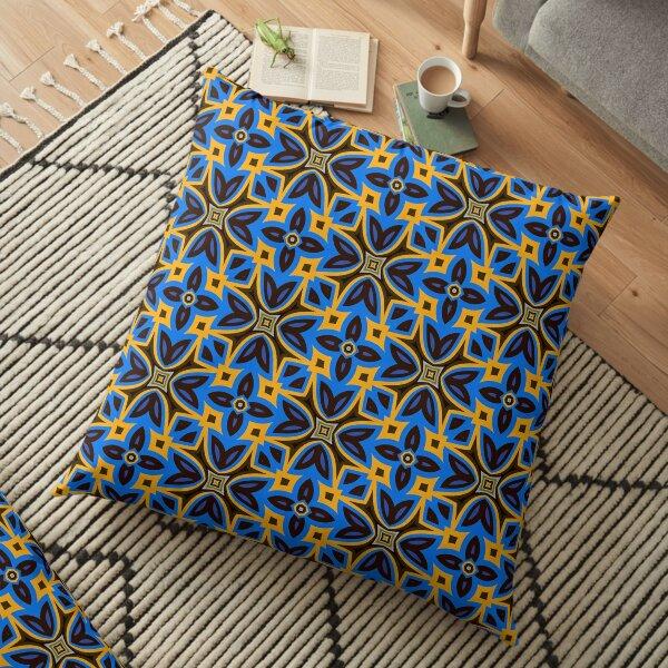 Modern Pattern Blue Orange Grey Design 1083 Floor Pillow
