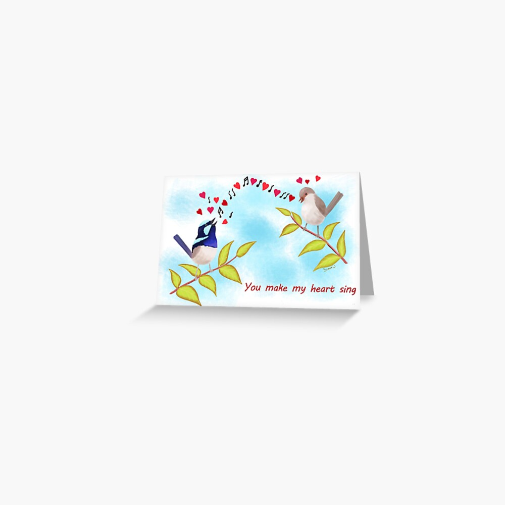Adorable Birds - You make my heart sing Greeting Card