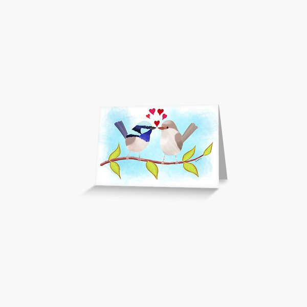 Adorable Blue Wren Birds in Love Greeting Card