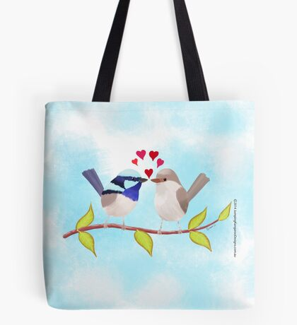 Adorable Blue Wren Birds in Love Tote Bag