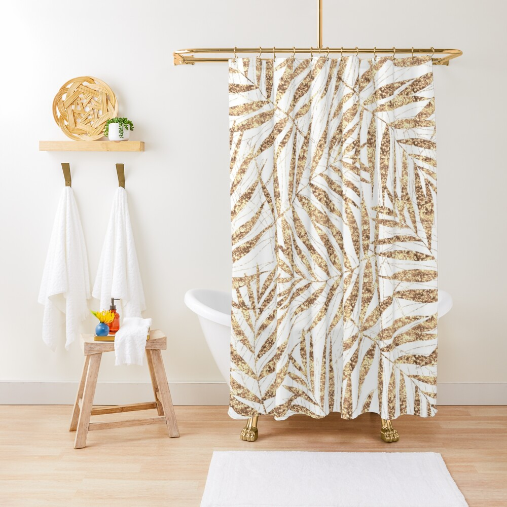 Elegant golden tropical palm leaves design Shower Curtain