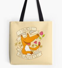 I smell beautiful! (a fox smelling roses) Tote Bag