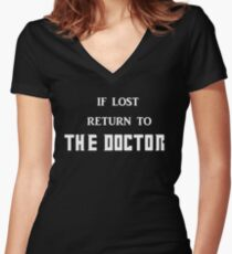 If Lost Return to The Doctor  Women's Fitted V-Neck T-Shirt