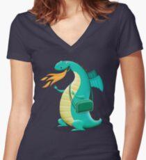 Sunshine Dragon Women's Fitted V-Neck T-Shirt
