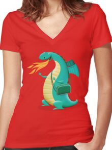 Sunshine Dragon Women's Fitted V-Neck T-Shirt