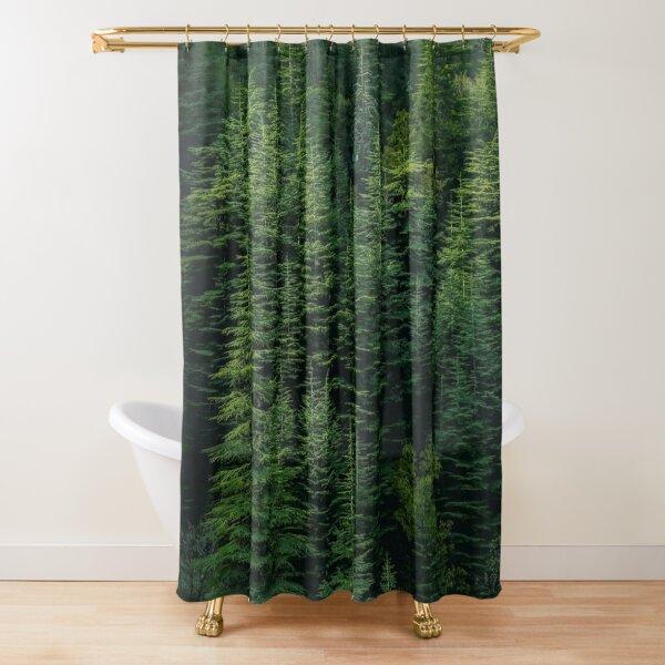 Green cedar trees Shower Curtain