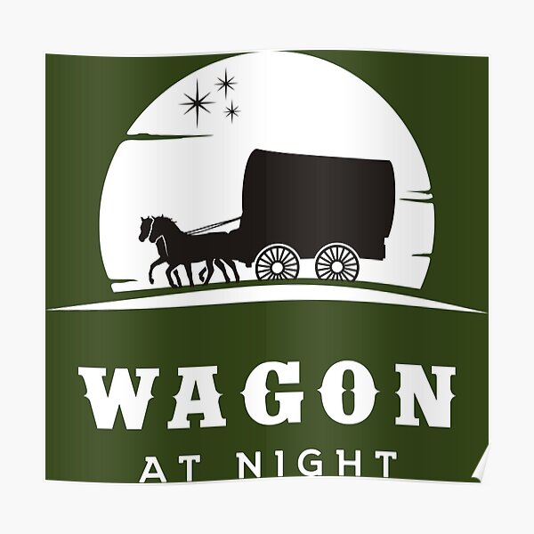 Wagon with horses at night Poster