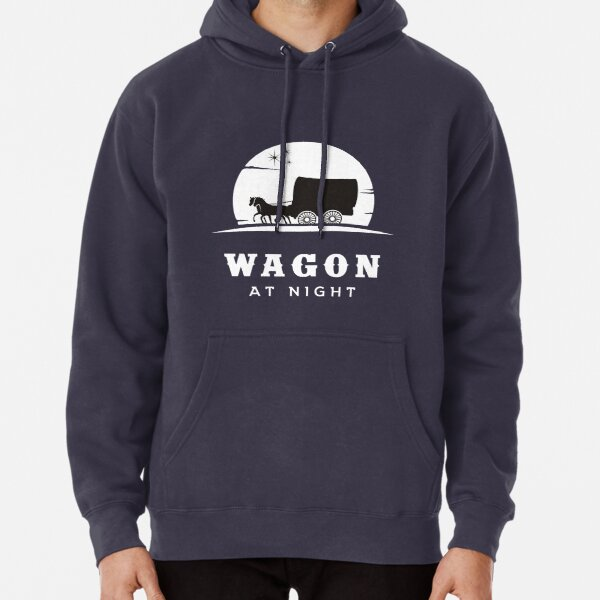 Wagon with horses at night Pullover Hoodie
