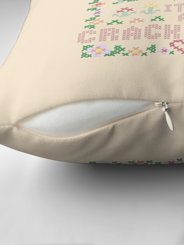 Alternate view of A Crack Home - cross stitch embroidery Throw Pillow