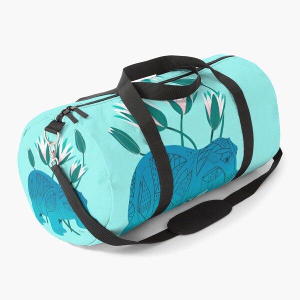 Faience Hippo - Floral Artefacts Duffle Bag