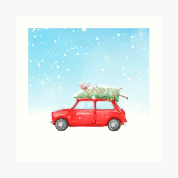 Classic Christmas Car Art Print
