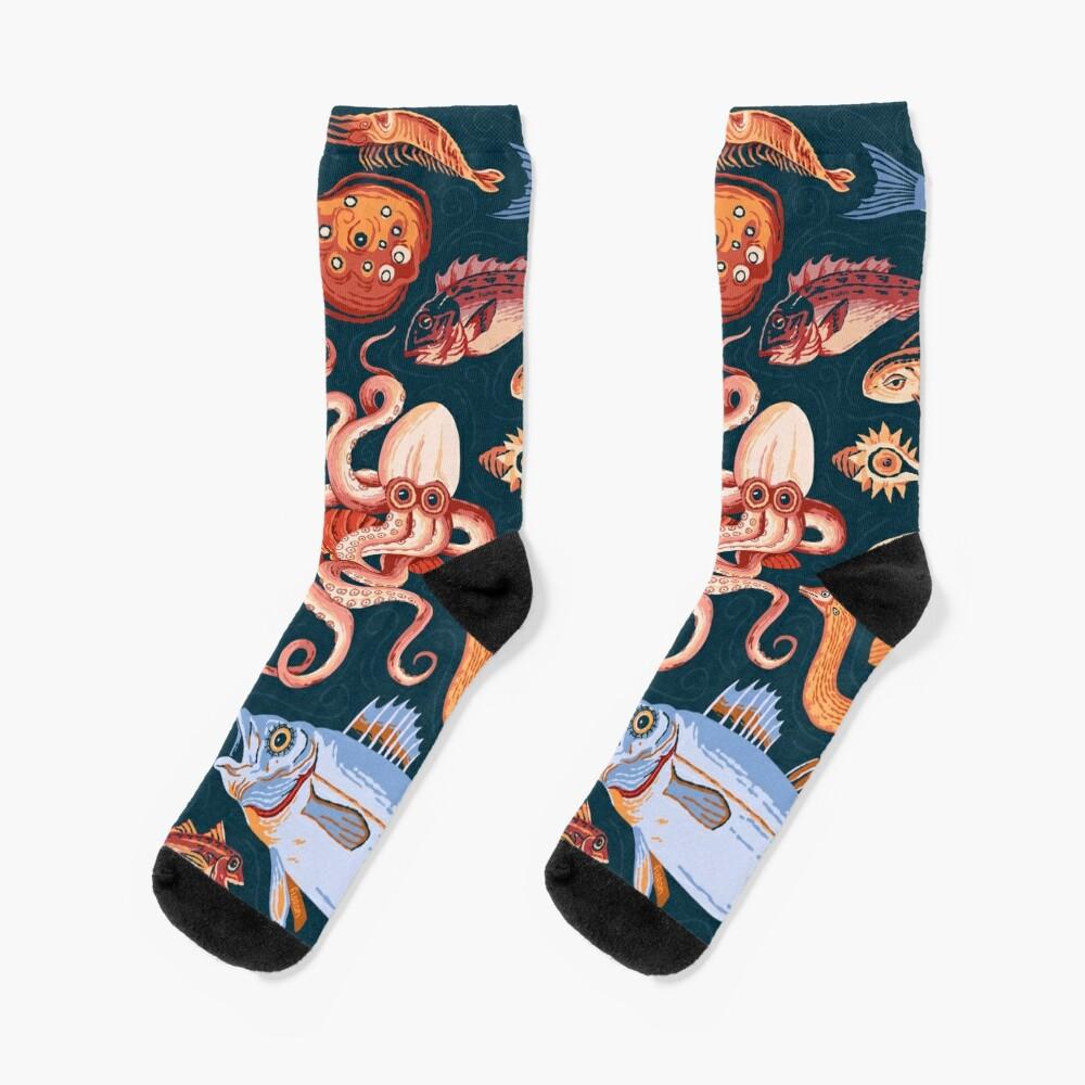 Pompeii Marine Mosaic  Socks