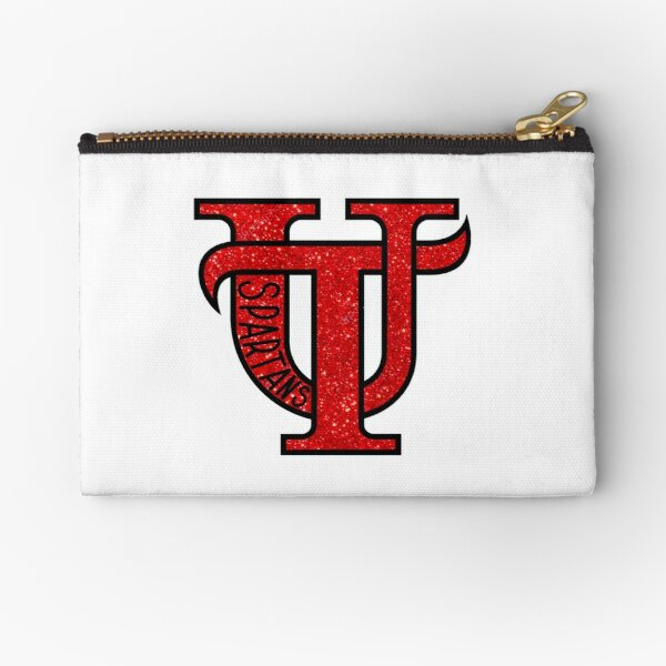 University of Tampa Spartans Red Glitter Zipper Pouch
