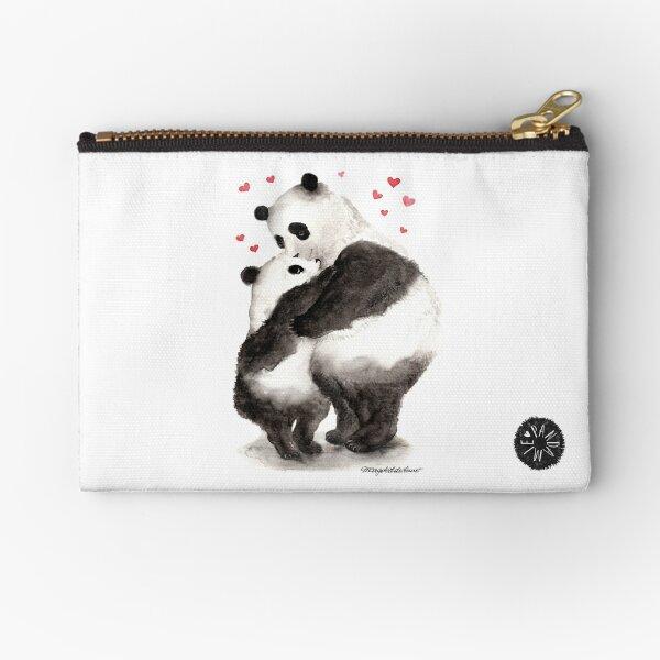 Pandemic of joy; Panda child hugs panda mother Zipper Pouch