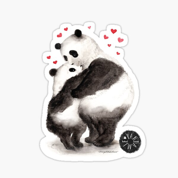 Pandemic of joy; Panda child hugs panda mother Sticker