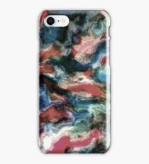 Teal Blue Coral Red Watercolor Swirls Art Pattern iPhone Case/Skin