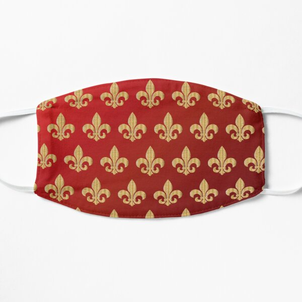 Motif fleur de lys rouge et or Masque sans plis