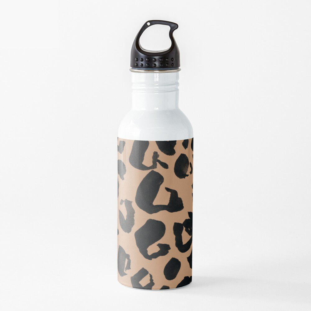 Leopard Print, Brown and Black and Tan Leopard Water Bottle